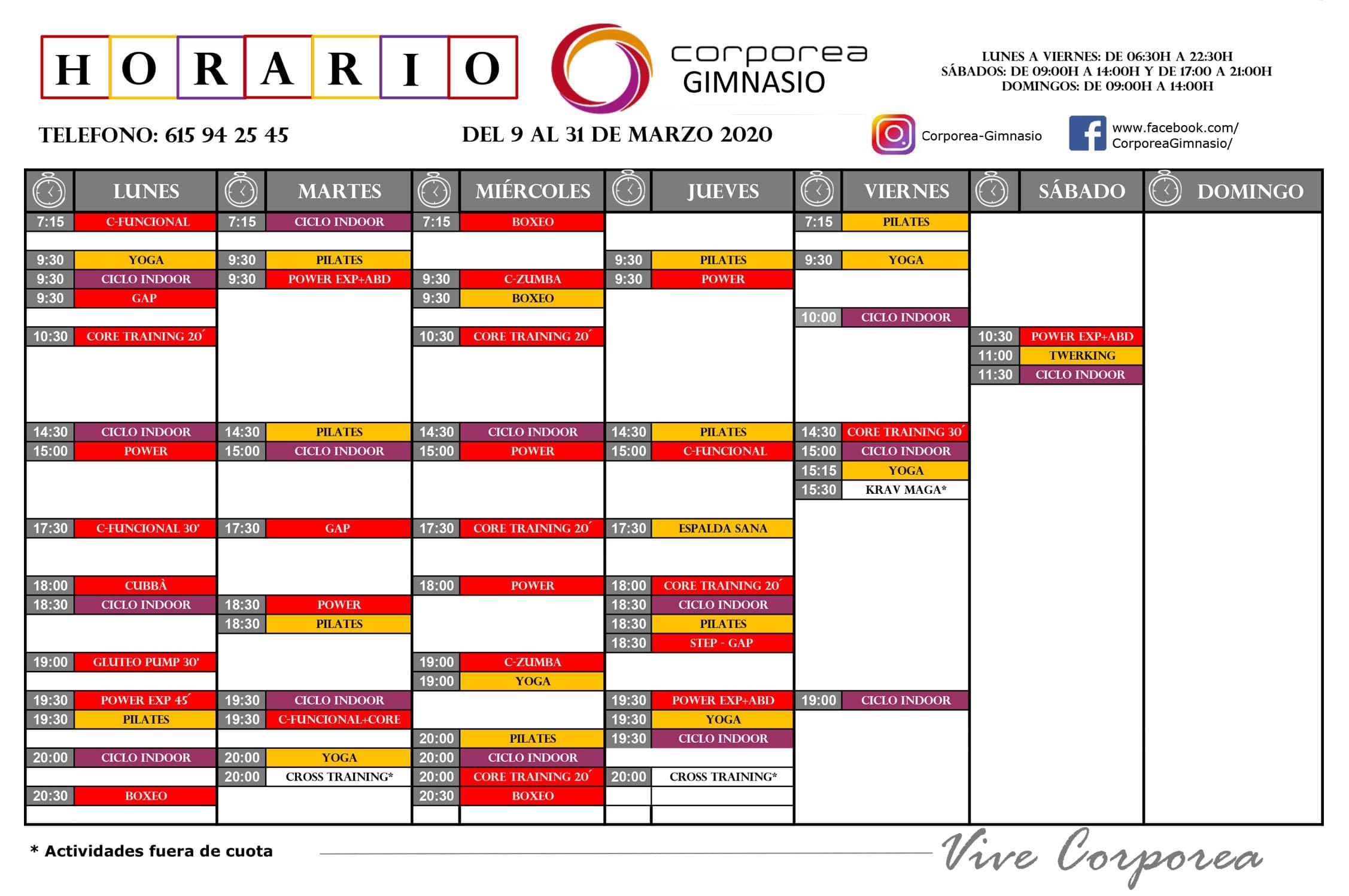 horario gimnasio corporea marzo 2020